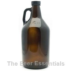Beer jug 64 oz.(1/2 gallon), brown with 38mm poly cap in a case of 6