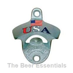 Wall Mount Bottle Opener in Silver with American Flag