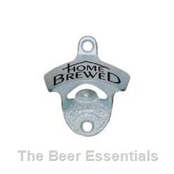 Wall Mount Bottle Opener in Silver with Home Brewed logo